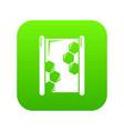 honeycomb wood icon green vector image