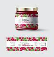 jam red bilberry label packaging jar sugar free vector image vector image