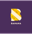 letter b like banana cut pieces b monogram vector image