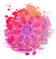 mandala over colorful watercolor beautiful vector image vector image