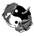 monochromatic yin yang koi fish vector image vector image