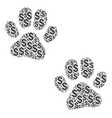 paw footprints collage of dollar vector image vector image