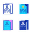 personal data collection icon set in flat and line vector image
