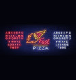 pizza neon sign pizzeria neon logo emblem vector image