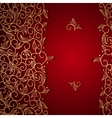 Red invitation with gold lace floral ornament vector image vector image