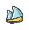 sailboat ship on waves icon cartoon vector image