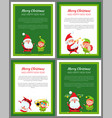 set of four new year cards with santa and elf vector image vector image