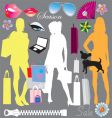 shopping elements vector image vector image