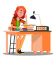 tired girl at the table with lamp and book vector image vector image