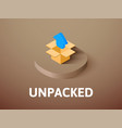 unpacked isometric icon isolated on color vector image