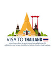 visa to thailand document for travel flat vector image