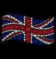 waving great britain flag mosaic of internet icons vector image