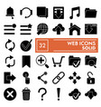web glyph icon set system symbols collection vector image vector image