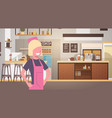 woman cafe waitress barista in coffee shop vector image