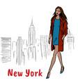 woman walking in ny vector image vector image