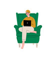 young man sitting in armchair using laptop vector image vector image