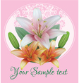 Greeting card with bouquet flowers of lilies vector image