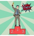 Pop Art Businessman Holding Golden Winners Cup vector image