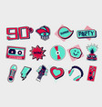 90s style icons funky signs set vector image vector image