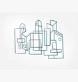 abstract city buildings line art isolated textured vector image