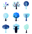 Abstract winter trees set isolated on white vector image vector image