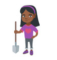 african-american smiling girl holding a shovel vector image vector image