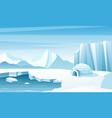 arctic landscape with ice igloo flat vector image vector image