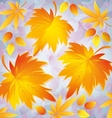 Autumn grunge background with yellow leaves - vector image vector image