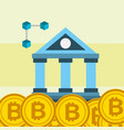 bank bitcoins cryptocurrency digital commerce vector image