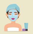 beautiful woman in treatment facial vector image vector image