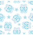 blue flipflops and starfish in a seamless backgrou vector image