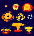 bomb explosion isolated icons set dynamite danger vector image