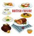 British cuisine dinner menu cartoon icon vector image vector image