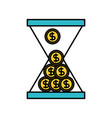 business glass clock with money dollar coins time vector image vector image