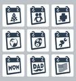 calendar icons representing holidays christmasnew vector image