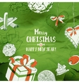 Christmas Card With Sketches on green vector image vector image