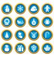 christmas icons blue circle set vector image vector image