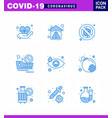 coronavirus 9 blue icon set on theme vector image vector image