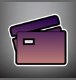 credit card sign violet gradient icon vector image vector image