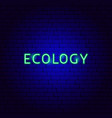 ecology neon text vector image vector image