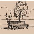hand drawn bench vector image