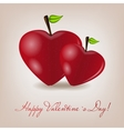 Happy Valentines Day card with apple heart vector image