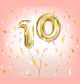 high quality image of gold balloon ten vector image