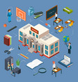 high school isometric 3d vector image vector image