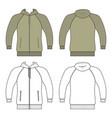 hoodie zip fastener man template front back vector image vector image