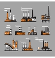 industrial factory icons on gray background vector image vector image