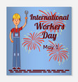 international workers day greeting card or banner vector image vector image
