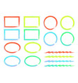 isolated circles ovals squares and wavy lines vector image