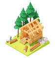 isometric carpenter at log cabin building vector image