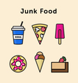 Junk food Icon Set vector image vector image